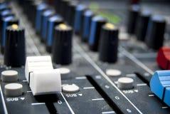 Audio mixer. With volume up Royalty Free Stock Photos