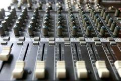 Audio mixing console stock photo
