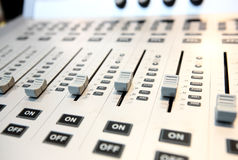 Audio mixing console. Close up Stock Photography