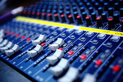 Audio mixing console. Controls of audio mixing console Royalty Free Stock Image