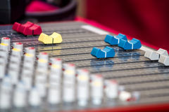 Audio mixing console Royalty Free Stock Image