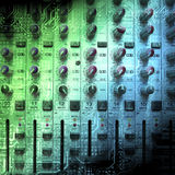 Audio mixing console closeup Stock Photo