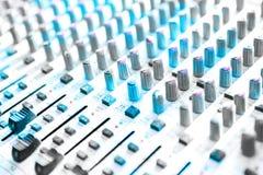 Audio mixing console closeup Stock Photos