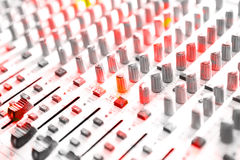 Audio mixing console closeup Royalty Free Stock Image