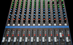 Audio mixing console with faders Stock Photography