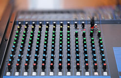 Audio mixing console with faders Stock Photos