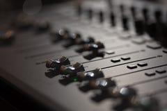 Audio mixing console. Gray audio mixing console sliders Stock Photo