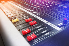 Audio mixing console. Music Studio & audio mixing console Royalty Free Stock Photography