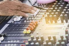 Audio mixing console in a recording studio royalty free stock photography