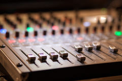 Audio mixing console in studio Stock Photography