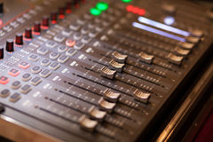 Audio mixing console in studio Stock Images