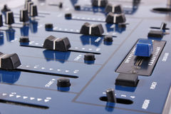 Audio mixing control panel. Dj blue audio mixing control panel royalty free stock image