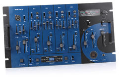 Audio mixing control panel. Dj blue audio mixing control panel royalty free stock photography