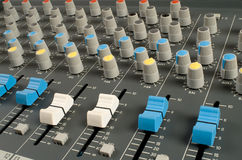 Audio mixing desk. Closeup of audio mixing console Stock Image