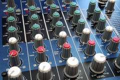 Audio Mixing Desk. Shots of Sound Mixing console stock images
