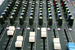 Audio Mixing Desk. Shots of Sound Mixing console Royalty Free Stock Photos