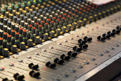 Audio mixing panel. Audio mixing control panel with equilizers Royalty Free Stock Photography
