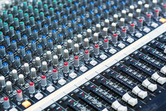 Audio mixing table Royalty Free Stock Image