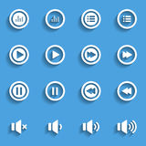 Audio and music flat icon set, flat design icon, vector eps10 Stock Image