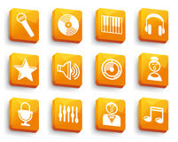 Audio and Music icons on buttons Stock Photos