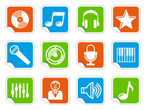 Audio and Music icons on stickers Stock Photos