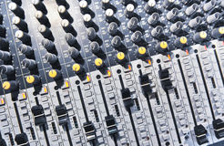 AUDIO MUSIC MIXER. Desk with faders Stock Photos