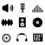 Audio, music and sound icons Royalty Free Stock Photo