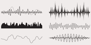 Audio Music Sound Wave,Vector Set Royalty Free Stock Images