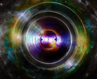 Audio music speaker in space. Cosmic space and stars, abstract cosmic background, space music, music concept. Audio music speaker in space. Cosmic space and Royalty Free Stock Photography