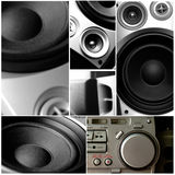 Audio music system. Music system or audio device college, DJ equipment and speakers Royalty Free Stock Image