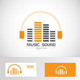 Audio music volume sound headphones logo Royalty Free Stock Photos