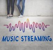 Audio musica di musica online che scorre concetto del grafico di Wave Immagini Stock Libere da Diritti