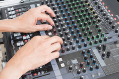 Audio musical mixer. Hand of the audio musical mixer Stock Photos