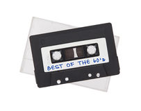 Audio nastro a cassetta d'annata, isolato su fondo bianco Fotografia Stock Libera da Diritti