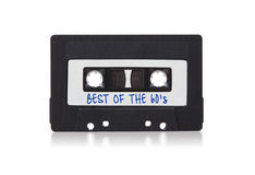 Audio nastro a cassetta d'annata, isolato su fondo bianco Fotografia Stock