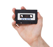Audio nastro a cassetta d'annata, isolato su fondo bianco Fotografie Stock