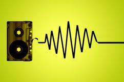 Audio nastro a cassetta trasparente ed onda sonora Fotografia Stock