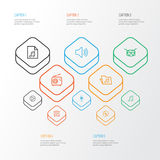 Audio Outline Icons Set. Collection Of Plastic, Circle, Barrel And Other Elements. Also Includes Symbols Such As Folder Royalty Free Stock Photos