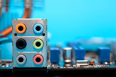 Audio output on motherboard Royalty Free Stock Photo