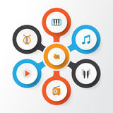 Audio Płaskie ikony Ustawiać Kolekcja portfolio, Pianoforte, brzmienie I Inni elementy, Obrazy Royalty Free