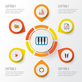 Audio Płaskie ikony Ustawiać Kolekcja portfolio, rytm, Pianoforte I Inni elementy, Także Zawiera symbole Tak jak sztuka Zdjęcie Royalty Free