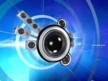 Audio planeet in cyberspace Stock Illustratie