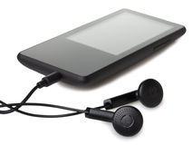 Audio player. With headphones on white background Stock Images
