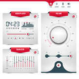 Audio player. Design with three control navigation panels, eps10 Stock Photos
