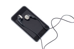 Audio player with headphones Stock Photos