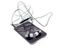 Audio player with headphones Royalty Free Stock Image