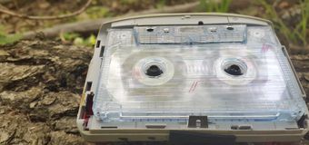 Audio player of the 2000s on a wooden bark of a tree.  Stock Images