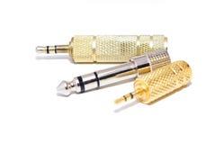 Audio plugs 2. Three different audio plugs: micro jack, mini jack and jack. Isolated on white Stock Photo