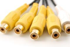 audio plugs video vit yellow för rca Fotografering för Bildbyråer