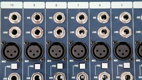 Audio production console sockets stock video footage